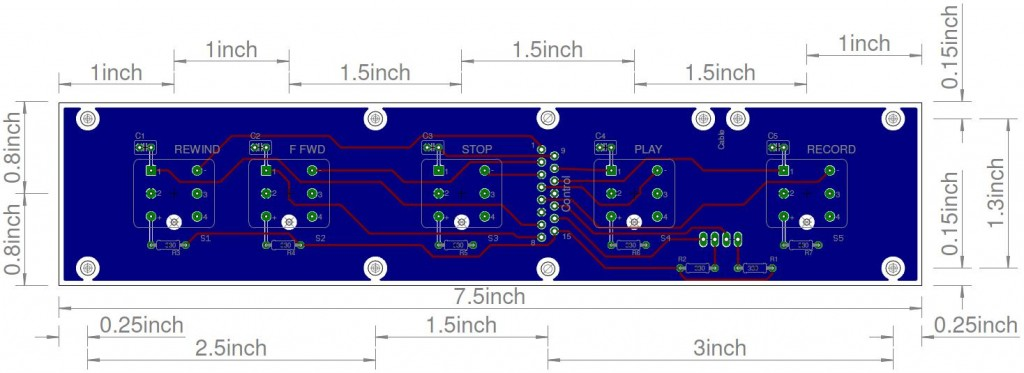 PCB layout with ground plane. (blue is back, red is top)